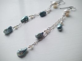 Falling Pearls -Mermaid -Blue and White Pearl by QuintessentialArts