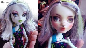 Frankie Stein before and after repaint by AshGUTZ