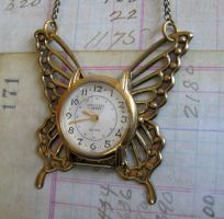 Huge sweet brass butterfly with a clock face by GraceCM