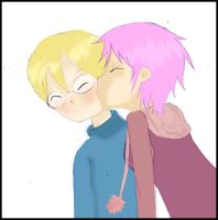 Aelita kissing Jeremy by Bimbavatar