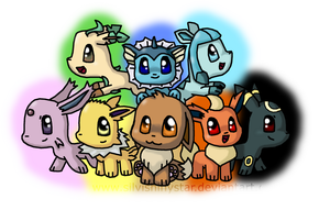 Chibi Eevee and Evolutions by SilviShinystar
