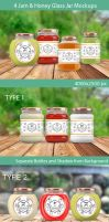 4 Honey and Jam Glass Jar Mockups by idimair