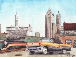 1956 Mercury Montclair Chicago by FastLaneIllustration