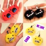 Three pairs o monster earrings by loveandasandwich