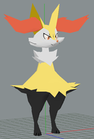 Braixen papercraft wip by javierini