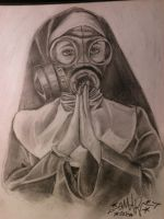 gasmask nun by xombieink