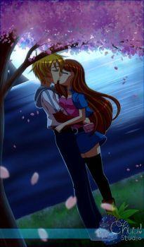 Kissing under the Cherry Blossom Tree by AdentheCaringOne