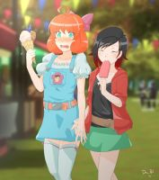 Ruby and Penny on a date by ChibiMaDemonPet