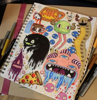 Monster Sketchbook Page by loveandasandwich