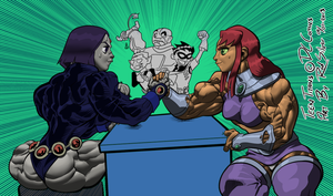 Teen Titan Annual Arm wrestling by RedSilverArtist
