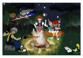 Kingdom Hearts Campfire by dust-n-scratches