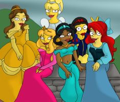 Simpsonized Disney Princesses by aStrangerInParadise