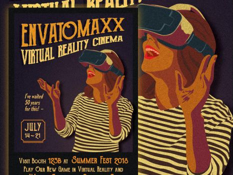 Vintage Virtual Reality Flyer / Poster by caffeinesoup