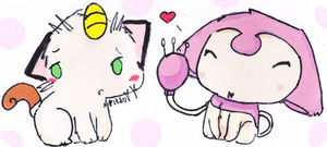 Meoww- Skitty And Meowth by FringedPikaa