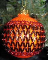 Christmas Ornament - Orange and Gold by PurlyZig
