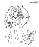 Merida from Brave - Lineart by JadeDragonne