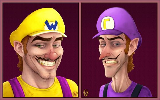 Portraits: Wario + Waluigi by Elusive-Angel