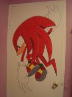 Painting Knuckles the Echidna on my Wall by knuxnbats