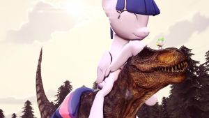Twilight has tamed the dinosaur [Request] by PointyStarz