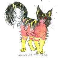coal, coral and lemon gradient cat by HiddenStash