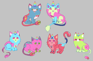 Colorful planttail kittens [1 open] by unicorngirl1