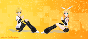 .:MMD:. Rin and Len by nena-linda-pink