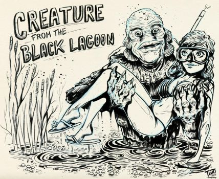 Inktober2015 / Creature from the Black Lagoon by TmoeGee