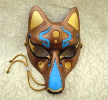 Fancy Kitsune Mask, Bronze by merimask