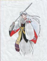 Sesshomaru COLORED by HYBRIDofHOPE