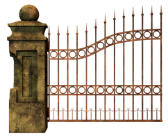 Graveyard Gate Left 2 PNG Stock by Roys-Art
