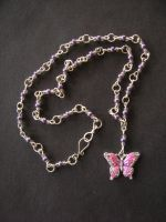 Pink Butterfly Necklace by wee-beastie