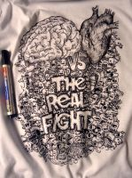 The Real Fight T-shirt Doodle by naldojunio