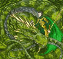 Loki and the Midgard Serpent by ToothyBeastie
