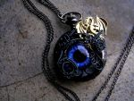 Custom Order - Black Pocket Watch Gold Dragon by LadyPirotessa