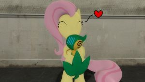 Fluttershy and the Snivy by Sergeant-Sunflower