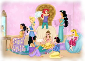 Disney Princesses- Sleepover by Tesslar