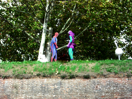 Spiderman and Green Goblin in front of a passage by Lynus-the-Porcupine