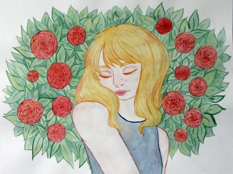 Red Roses Blond Hair by FeliaTheIceWitch