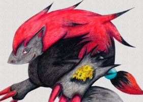 Zoroark and Joltik by The-Last-Silver-Moon