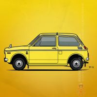 Honda N360 Yellow Kei Car by monkeycrisisonmars