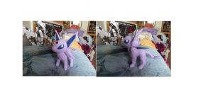 new Espeon Plush by legendarydragonstar