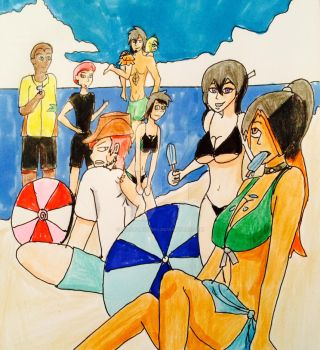 Day at the beach with some ocs by 14ladybuggirl