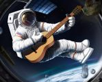 Astronaut with guitar by rs2128