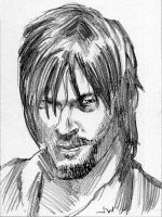 Daryl from The Walking Dead Sketch Card by Stungeon