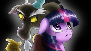Twilight and Discord by Herostrain