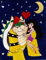 Bowser and Jasmine in the night by JasmineLovesDrawing