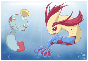 Chimecho and Milotic by pichu90