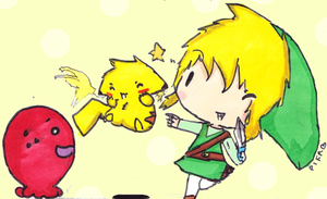 Pikachu and Link-Teamwork by FringedPikaa