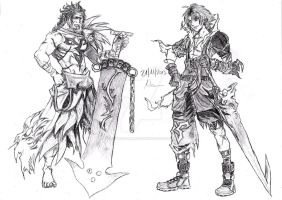 Jecht and Tidus( Final Fantasy X / Dissidia ) by Robert-Marten