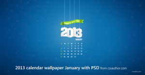 January 2013 Desktop Calendar Wallpaper with PSD by cssauthor